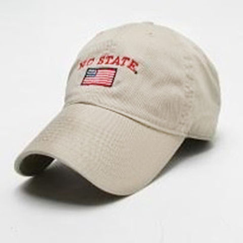NC State Wolfpack Khaki Arch with American Flag Hat