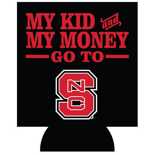 NC State Wolfpack My Kids & Money Black Coozie