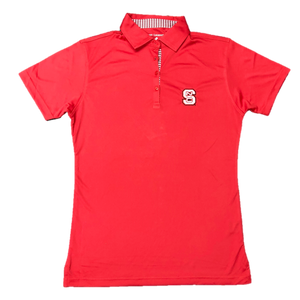 NC State Wolfpack Women's Red Houndstooth Trimmed Performance Polo
