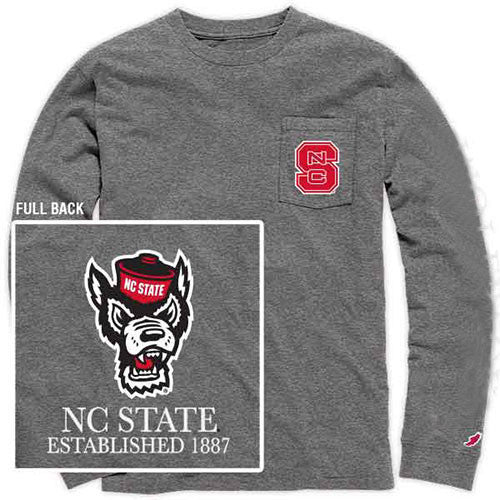 Nc State Wolfpack Midnight Heather Long Sleeve Pocket T