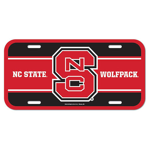 NC State Wolfpack Block S Plastic License Plate