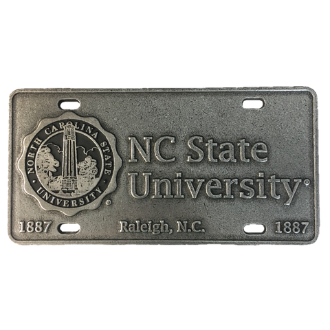 NC State Wolfpack University Seal Pewter License Plate