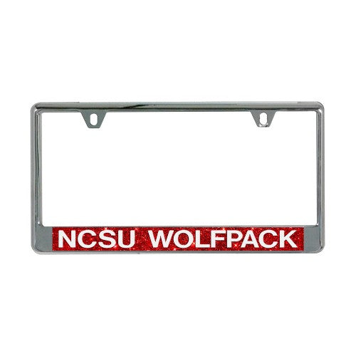 NC State Wolfpack Red Glitter NCSU Metal License Plate Frame