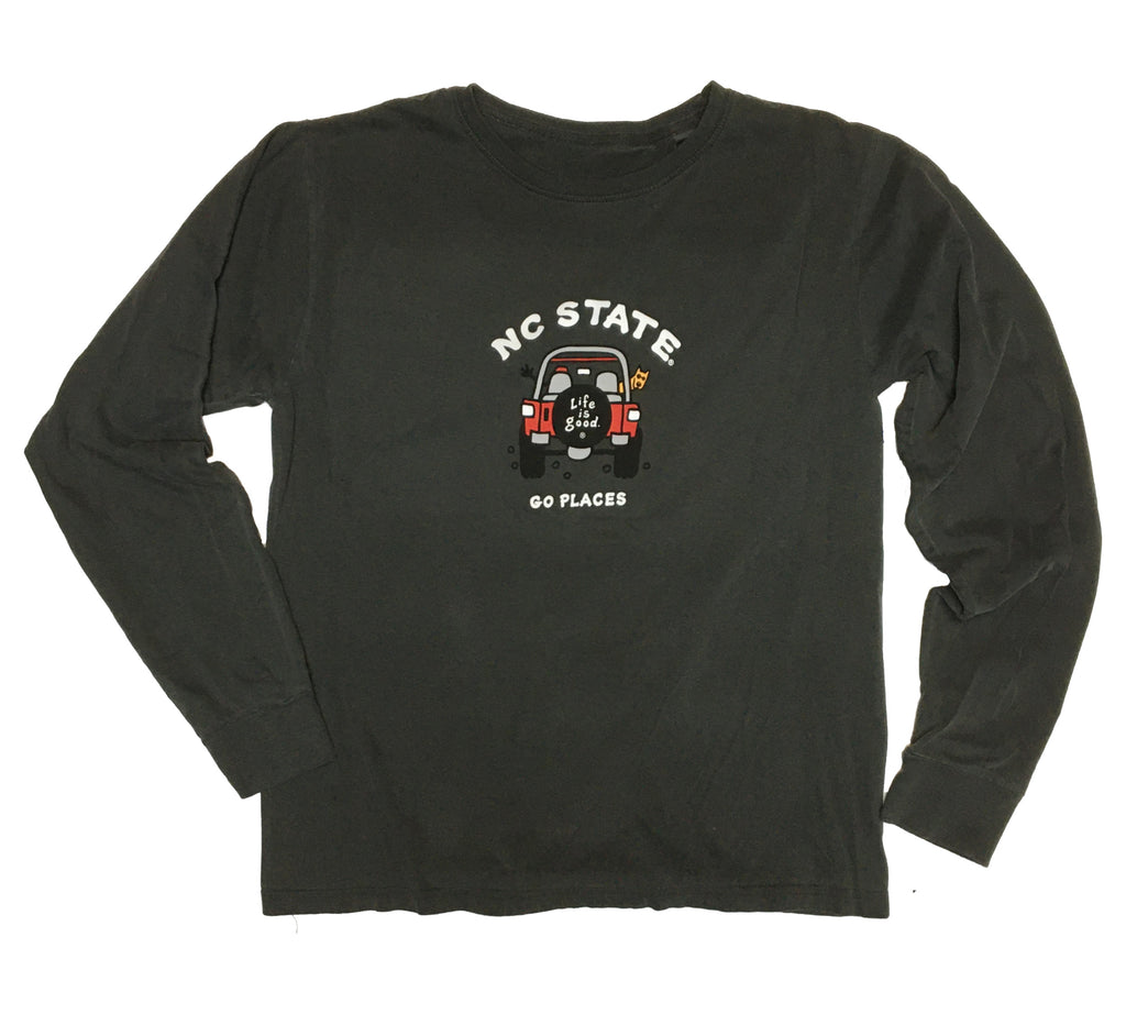 NC State Wolfpack Life Is Good Black Dyed Ringspun Jake 4x4 Long Sleeve T-Shirt