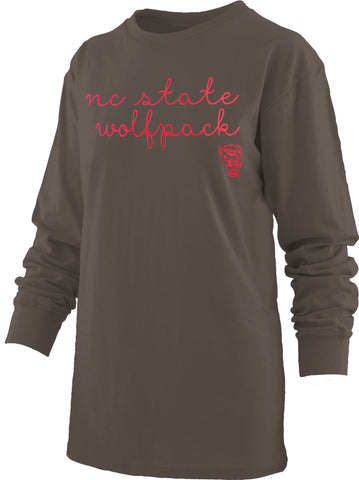 NC State Wolfpack Women's Black Regan Script Comfort Colors Long Sleeve T-Shirt
