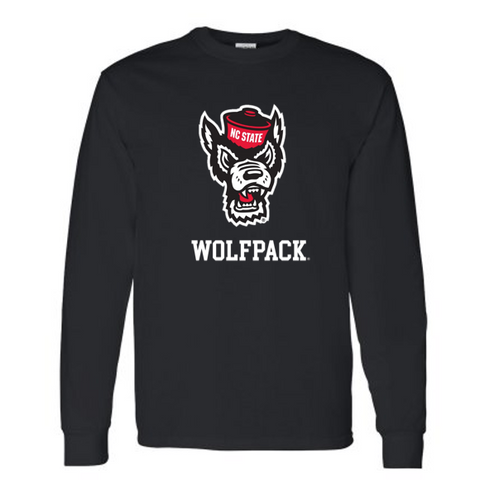 NC State Wolfpack Black Wolfhead Long Sleeve T-Shirt