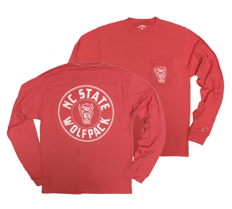 NC State Wolfpack Nantucket Red Wolfhead Long Sleeve Pocket T-Shirt