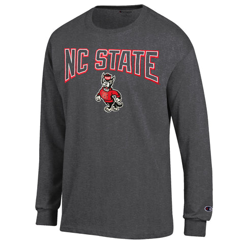 NC State Wolfpack Champion Granite Heather Strutting Wolf Long Sleeve T-Shirt