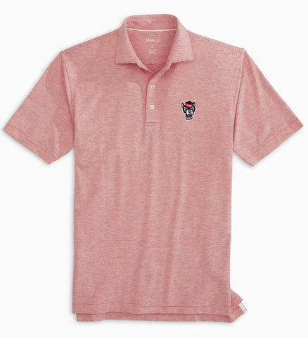 NC State Wolfpack Johnnie-O Red and White Striped Wolfhead Lyndon Polo