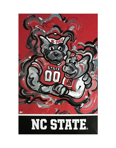 "NC State Wolfpack 29""x43"" Red Mr. and Mrs. Wuf Justin Patten House Flag"