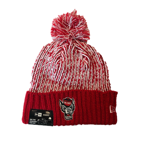 NC State Wolfpack New Era Women's Red Wolfhead Sporty Cuffed Pom Beanie
