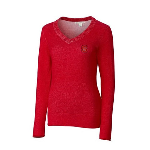 NC State Wolfpack Women's Cutter & Buck Red McKenzie V-Neck Sweater