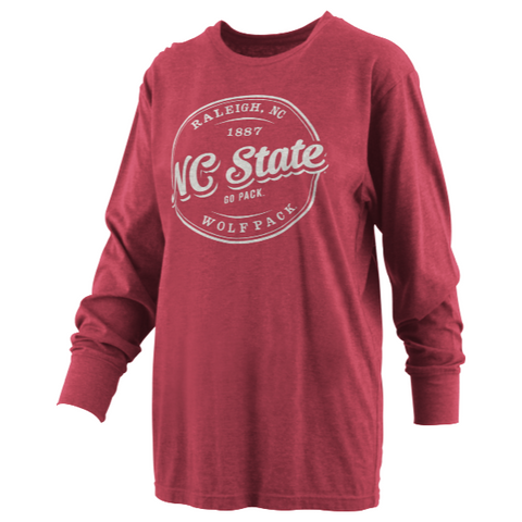 NC State Wolfpack Red Mickey Melange Long Sleeve T-Shirt