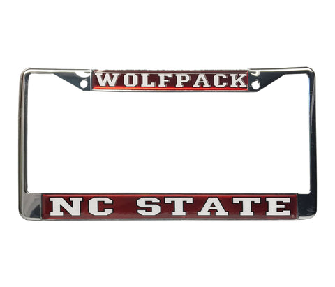 NC State Wolfpack Red Mirror Domed Wolfpack License Plate Frame