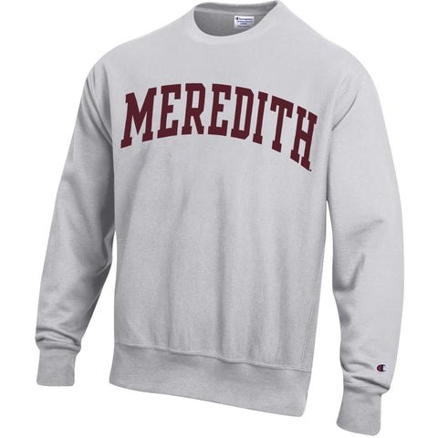 Meredith College Silver Grey Arched Meredith Reverse Weave Crewneck Sweatshirt