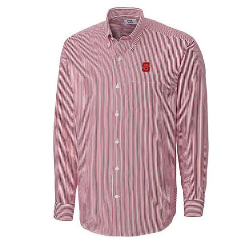 NC State Wolfpack Cutter & Buck Red Epic Easy Care Mini Bengal Dress Shirt