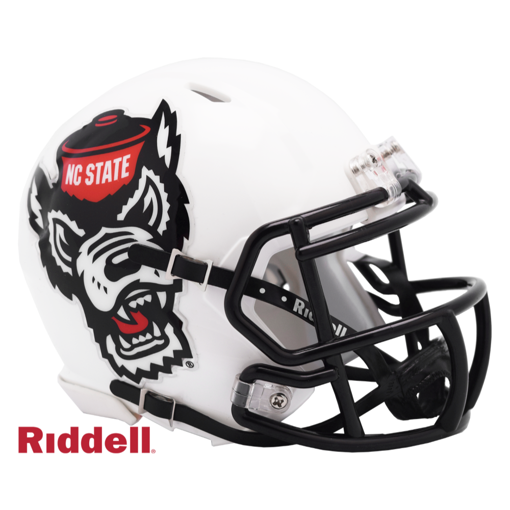 "NC State Wolfpack Riddell White ""Stealth Wolf"" Replica Mini Speed Football Helmet"