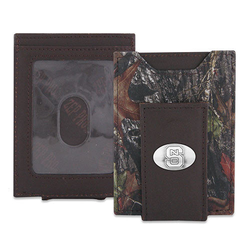 NC State Wolfpack Break Up Leather Money Clip - Mossy Oak Camo