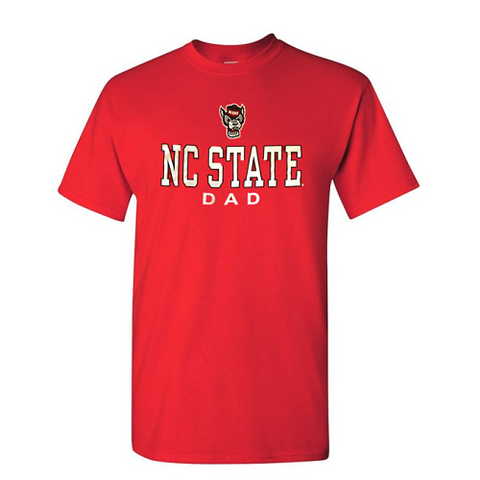 NC State Wolfpack Red NC State Dad Wolfhead T-Shirt