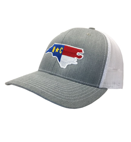 State of North Carolina Heather Grey and White Mesh Adjustable Hat