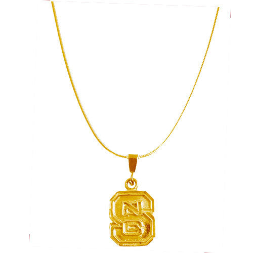 NC State Wolfpack 24k Gold Plated Block S Necklace