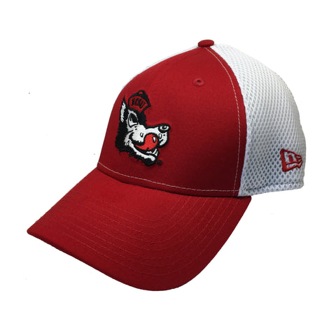 NC State Wolfpack New Era Red and White Slobbering Wolfhead Mesh Fitted Hat