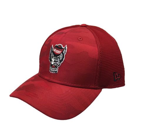 NC State Wolfpack New Era Red Camo Fronted Wolfhead Mesh Fitted Hat
