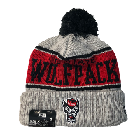 NC State Wolfpack New Era Youth Wolfhead Knit Stripe Cuffed Beanie