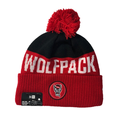 NC State Wolfpack New Era Red Wolfhead Patch Cuffed Beanie w/Pom