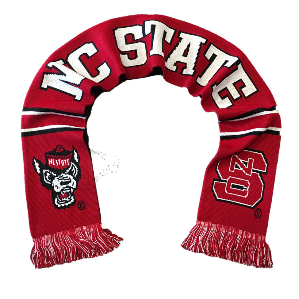 nc state wolfpack white and tradition scarf and
