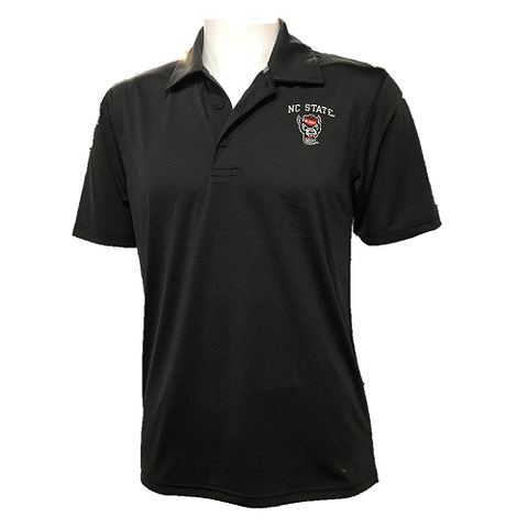 NC State Wolfpack Champion Heathered Black Wolfhead Polo