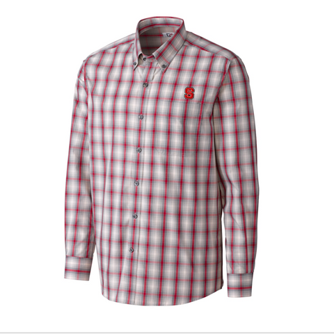 NC State Wolfpack North Point Plaid Dress Shirt