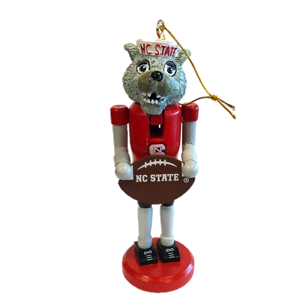 "NC State Wolfpack 6"" Wolf Nutcracker Football Ornament"