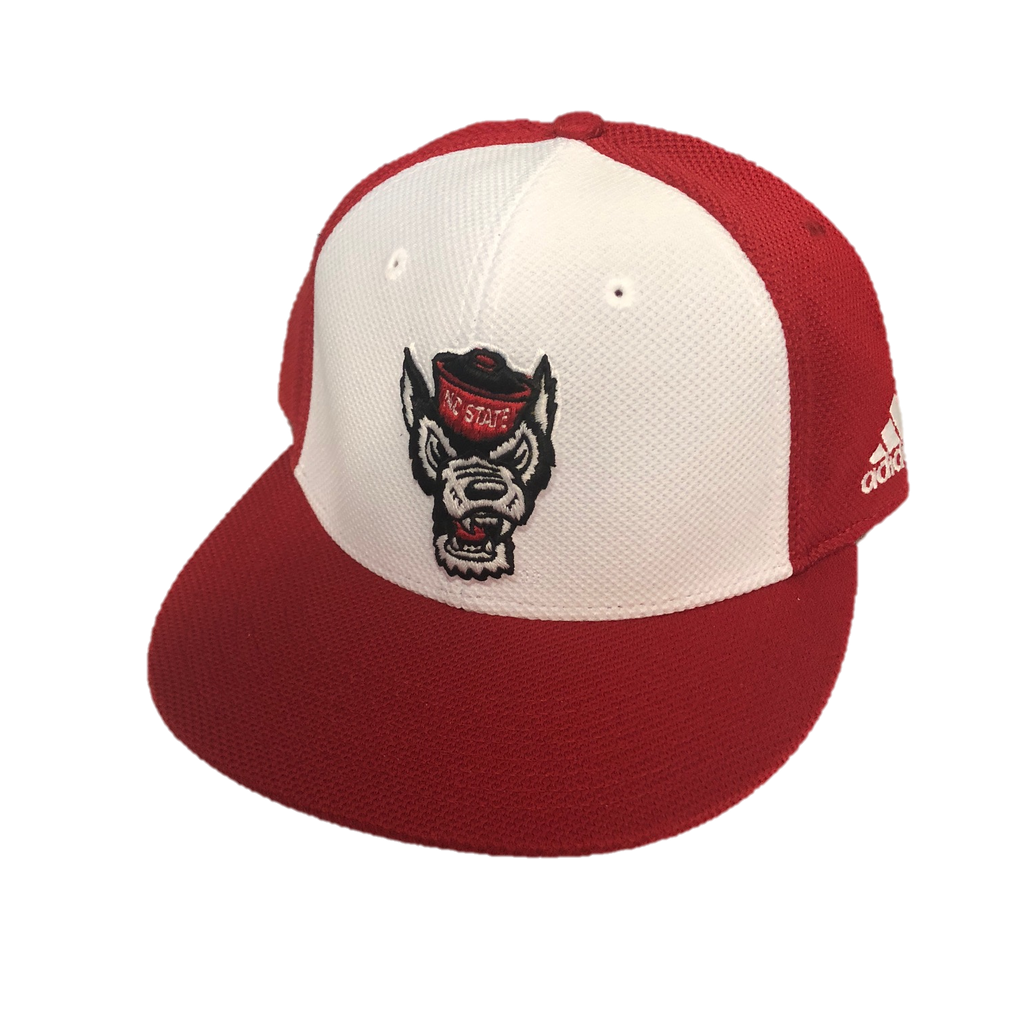"NC State Wolfpack Adidas Red and White ""On Field"" Mesh Wolfhead Performance Fitted Flatbill Hat"