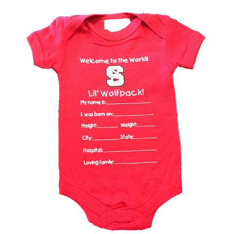 NC State Wolfpack Infant Red Welcome To The World Onesie