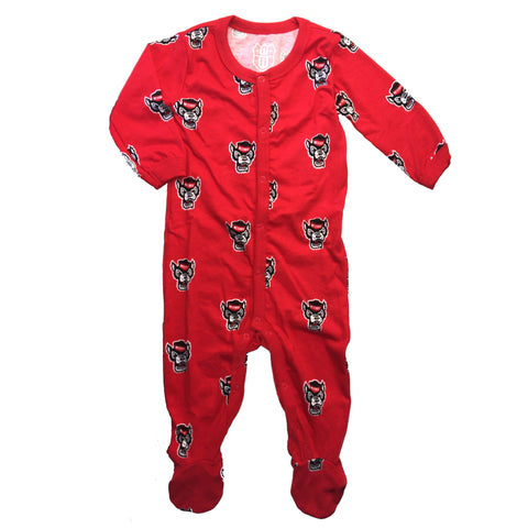 NC State Wolfpack Toddler Red All Over Wolfhead Footed Pajamas