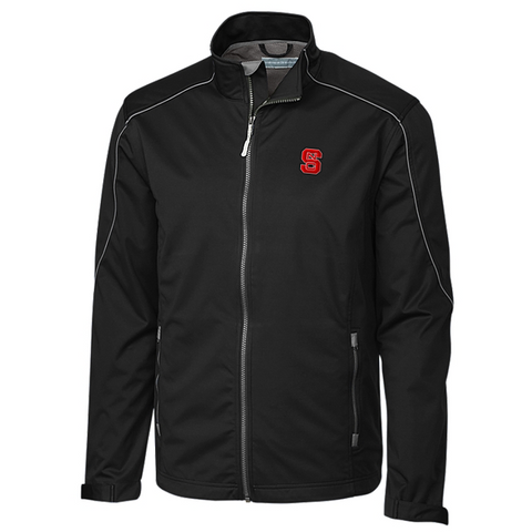 NC State Wolfpack Cutter & Buck Black WeatherTec Opening Day Softshell Jacket