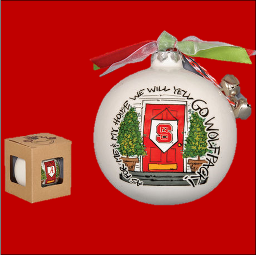 NC State Wolfpack Ornament with Ribbon Bells