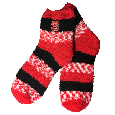 NC State Wolfpack Red Pro Stripe Block S Fuzzy Socks