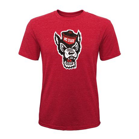 NC State Wolfpack Youth Red Triblend Wolfhead T-Shirt