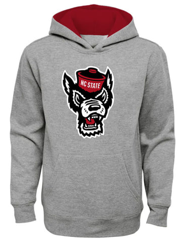 NC State Wolfpack Youth Grey Wolfhead Prime Hooded Sweatshirt