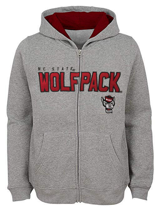 NC State Wolfpack Kid's Grey Wolfhead Stated Full Zip Hooded Jacket