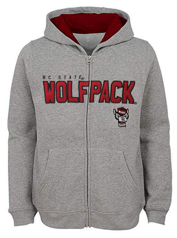 NC State Wolfpack Youth Grey Wolfhead Stated Full Zip Hooded Jacket