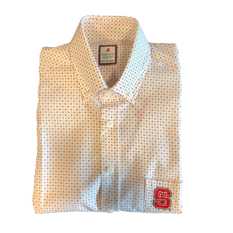 NC State Wolfpack Fredrick Martin White w/ Black and Red Dots Block S Dress Shirt