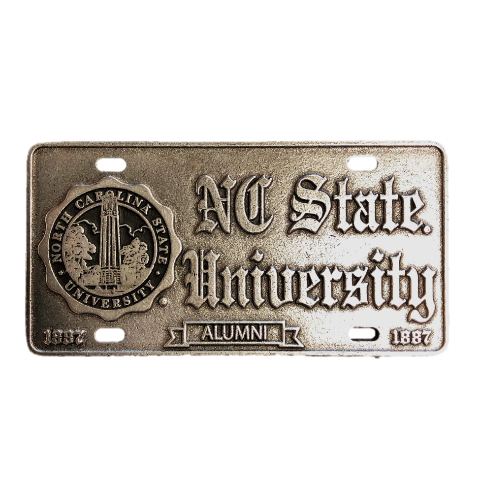 NC State Wolfpack Alumni Seal Old English Pewter License Plate