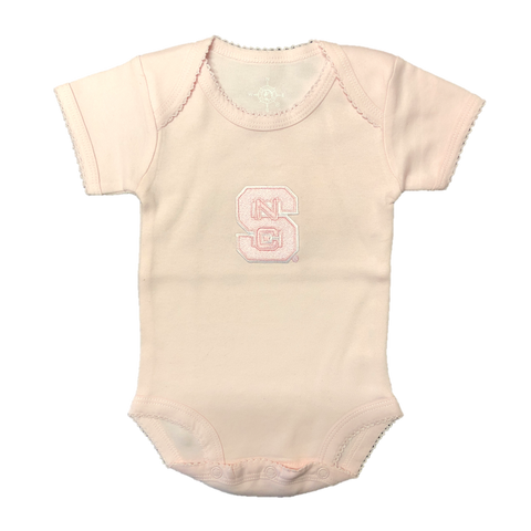 NC State Wolfpack Infant Pink Picot Onesie
