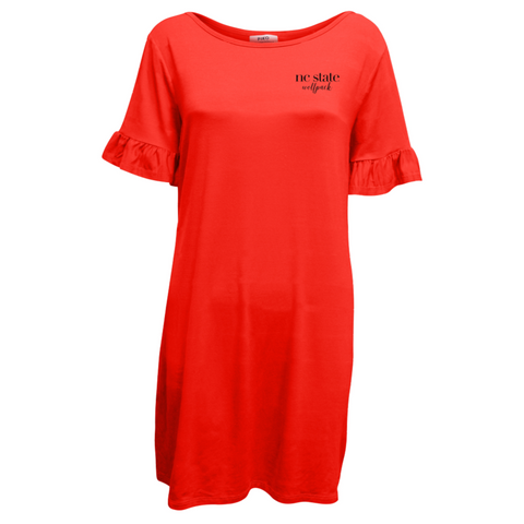 NC State Wolfpack Women's Red NC State Wolfpack PIKO Ruffle Sleeve Dress