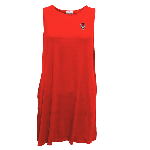 NC State Wolfpack Women's Red PIKO High Neck Wolfhead Tank Dress w/Pockets