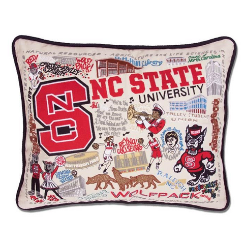 NC State Wolfpack Hand Embroidered Geographic Pillow
