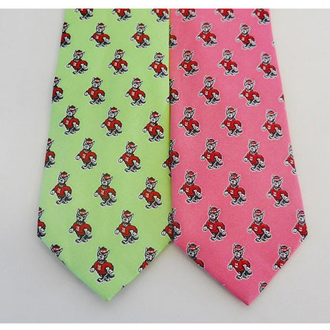 NC State Wolfpack Strutting Wolf Silk Neck Tie in Pink or Green